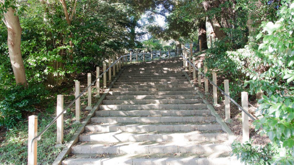 Treppen zum Schloss in Fukuoka Japan