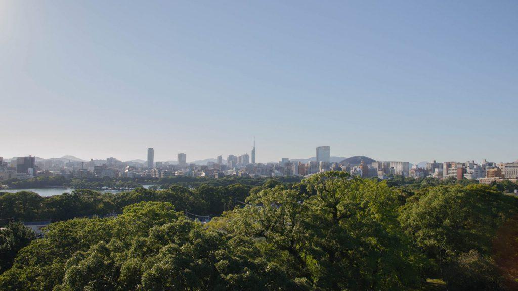 Aussicht vom Schloss in Fukuoka Japan
