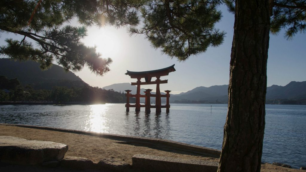 Erhabenes Toori in Miyajima Japan