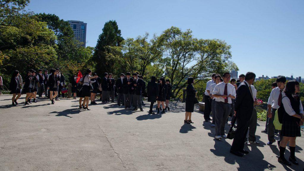 Warteschlangen beim Schloss in Hiroshima Japan