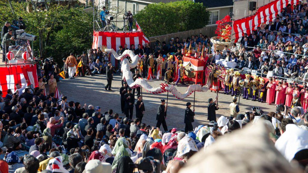 Drachentanz beim Okunchi Festival in Nagasaki Japan