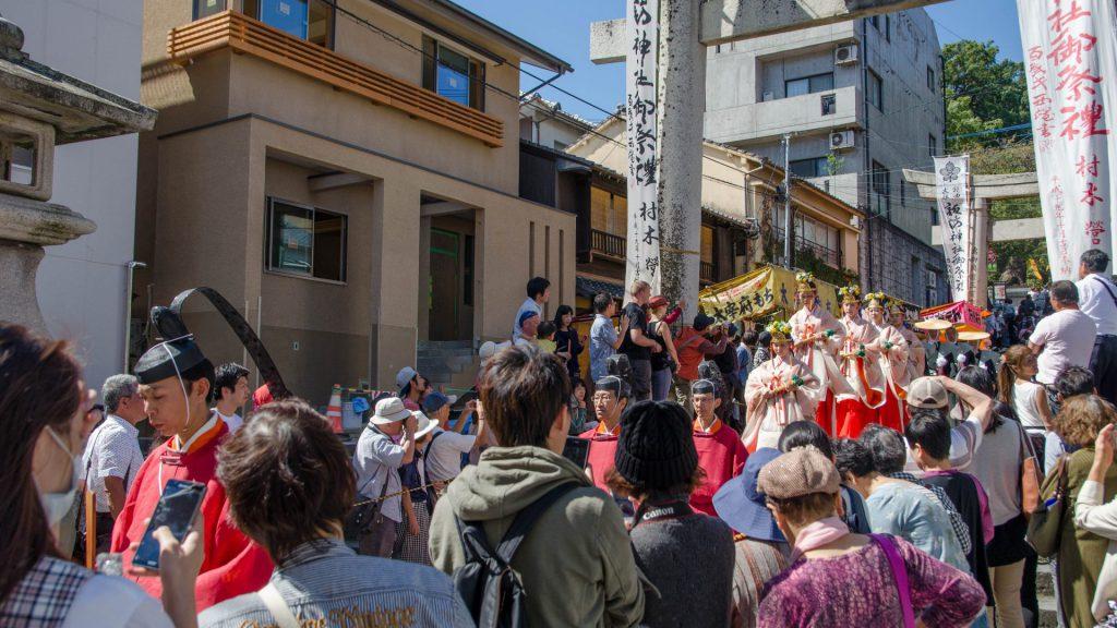 Festumzug beim Okunchi Festival in Nagasaki Japan