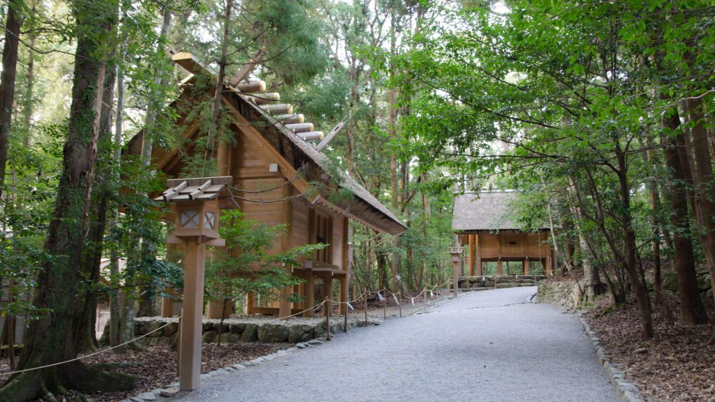 Bauten im Wald von Ise in Japan